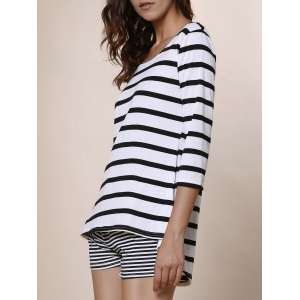 Simple Style Scoop Neck Striped 3/4 Sleeve Blouse For Women - WHITE/BLACK M