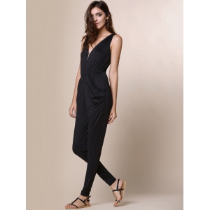 V-Neck Zippered Black Pleated Sleeveless Jumpsuit -
