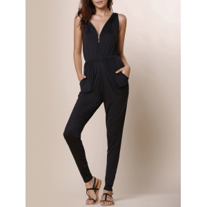 V-Neck Zippered Black Pleated Sleeveless Jumpsuit