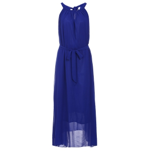 Sleeveless Chiffon Long Prom Evening Dress - Purplish Blue - 6xl