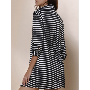 Simple Polo Collar Striped Long Sleeve Blouse For Women -