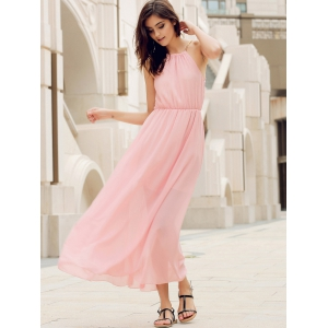 Elegant Round Collar Solid Color Sleeveless Sage Maxi Dress For Women -