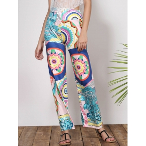Fashionable Mid-Waisted Loose-Fitting Printed Women's Pants - Green - S