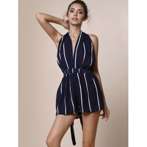 Sexy Plunging Neck Sleeveless Striped Backless Lace-Up Women's Romper - BLUE S