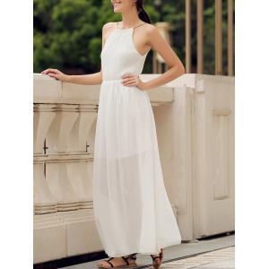 Elegant Round Collar Solid Color Sleeveless Sage Maxi Dress For Women - White - Xl
