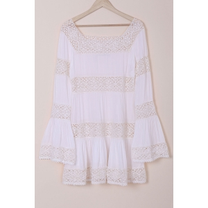 Flare Long Sleeve Lace Insert Tunic Dress - White - L