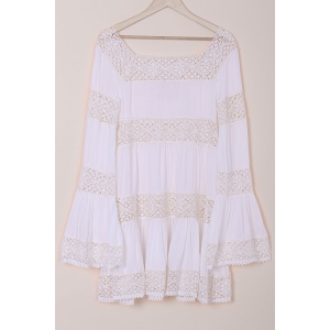 Flare Long Sleeve Lace Insert Tunic Dress - WHITE M