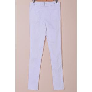 Chic Mid-Waisted Pure Color Hole Design Women's Jeans -
