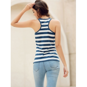 Sequins Anchor Striped Tank Top - RED S