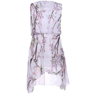 Refreshing Scoop Neck Sleeveless Peach Blossom Print High Low Dress For Women - White - One Size(fit Size Xs To M)