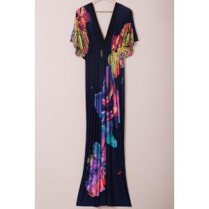 Floral Plus Size Plunge Maxi Beach Dress