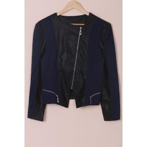 Chic Faux Leather Zipper Long Sleeve Jacket For Women - Blue And Black - 5xl