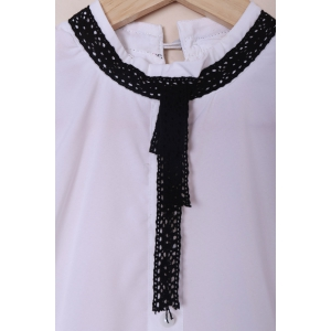 Vintage Stand Collar Lace-Up Ruched Button Design Slimming Dress For Women - WHITE S