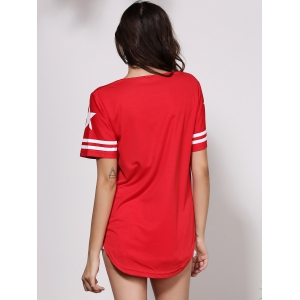 Round Neck Short Sleeves Casual Shift Dress - RED L