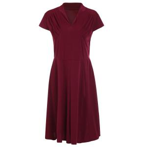 Retro Style V-Neck Wine Red 1940s Swing Dress
