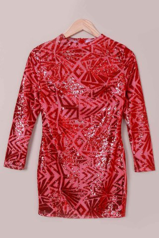 Discount Short Sequin Glitter Club Dress with Sleeves RED S
