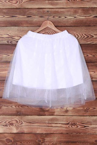 Cheap Elastic Waist Layered Tulle Skirt