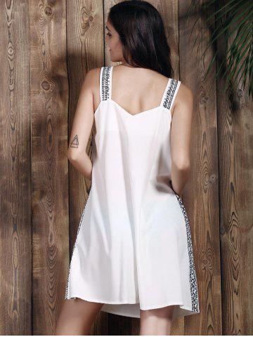 Outfits Brief Spaghetti Strap Print Summer Dress For Women - S WHITE Mobile