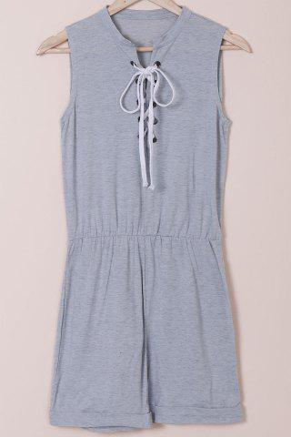 Shops Casual Style Jewel Neck Sleeveless Gray Lace-Up Women's Romper GRAY M