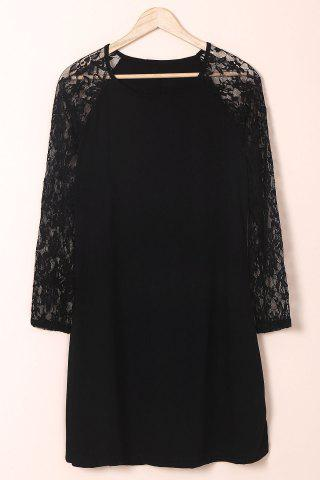 Chic Plus Size Long Sleeve Shift Dress with Lace - XL BLACK Mobile