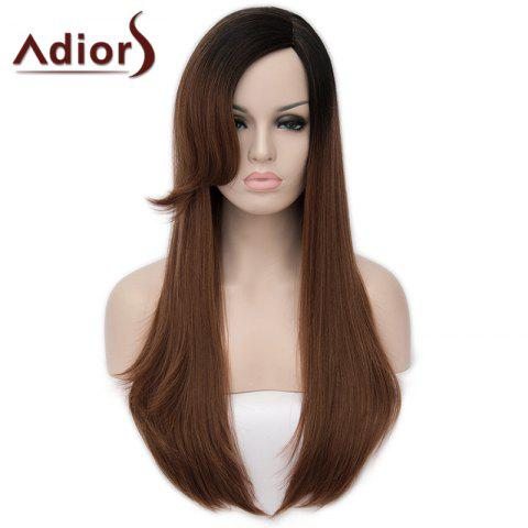 Discount Fashion Long Side Bang Capless Fluffy Natural Straight Black Brown Ombre Synthetic Wig For Women