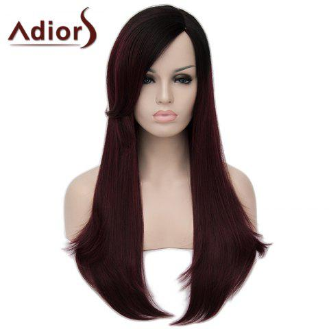 Online Shaggy Natural Straight Capless Stunning Black Ombre Wine Red Long Synthetic Wig For Women