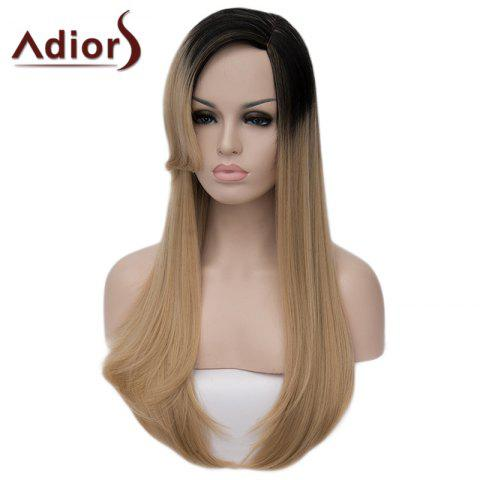Shop Charming Long Black Blonde Gradient Synthetic Fluffy Straight Tail Adduction Capless Wig For Women