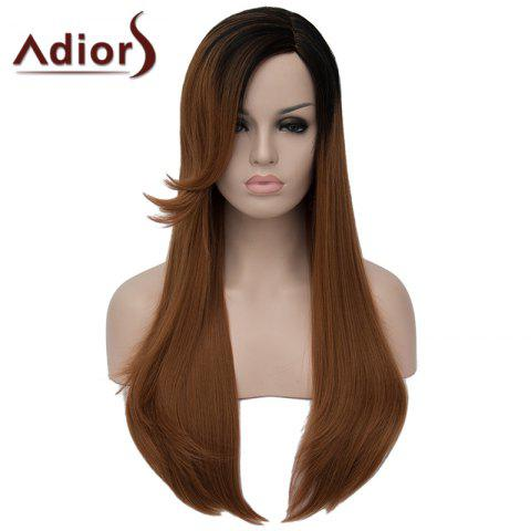 Trendy Vogue Straight Capless Elegant Long Black Gradient Brown Synthetic Wig For Women