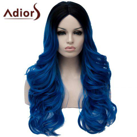 New Fashion Black Ombre Blue Capless Fluffy Long Wavy Middle Part Synthetic Wig For Women