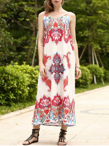 Outfit Boho Long Printed Slip Swing Dress COLORMIX S