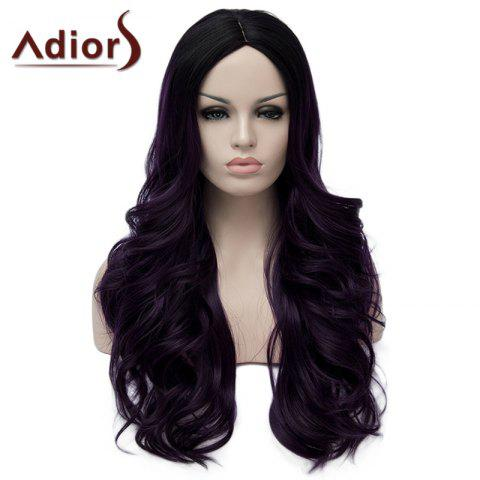 Discount Stunning Purple Highlight Synthetic Shaggy Long Wavy Capless Wig For Women