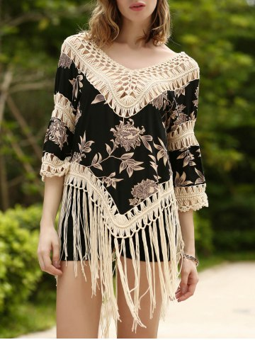 Fancy Long Fringe Printed Beach Tunic Cover Up
