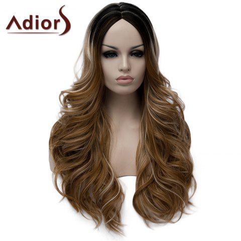 Sale Fluffy Wavy Light Brown Highlight Synthetic Stylish Long Middle Part Wig For Women