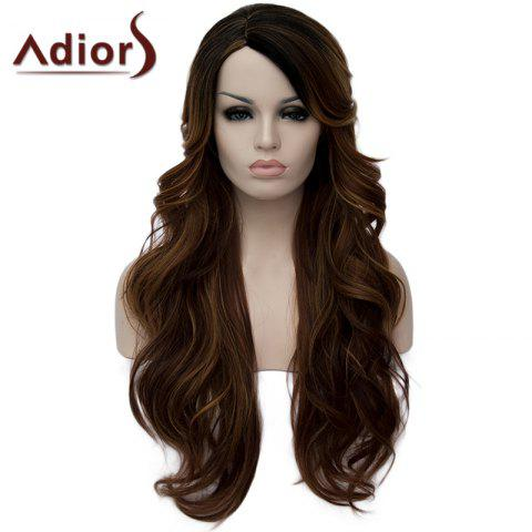 Hot Shaggy Side Parting Wavy Synthetic Vogue Long Black Brown Mixed Capless Wig For Women