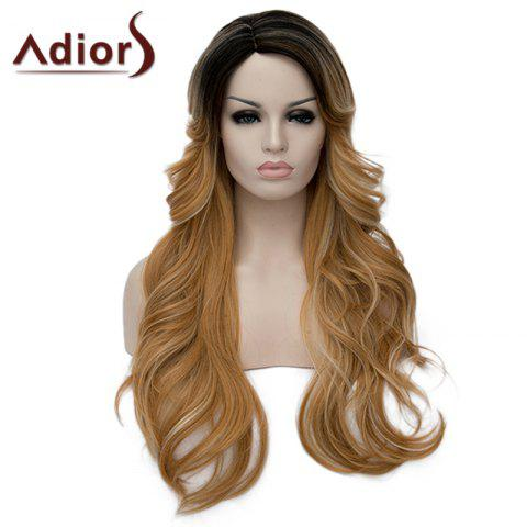Trendy Charming Side Parting Synthetic Shaggy Long Wave Black Ombre Blonde Capless Wig For Women