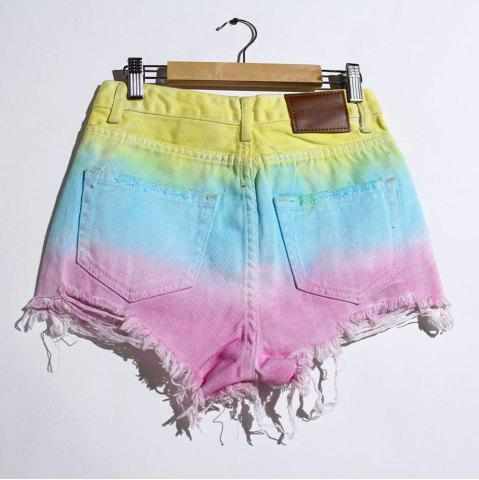 Fashion Women's Stylish Bleach Wash Ripped Colorful Shorts - S COLORMIX Mobile