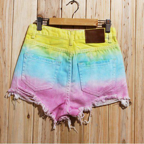 New Women's Stylish Bleach Wash Ripped Colorful Shorts - S COLORMIX Mobile