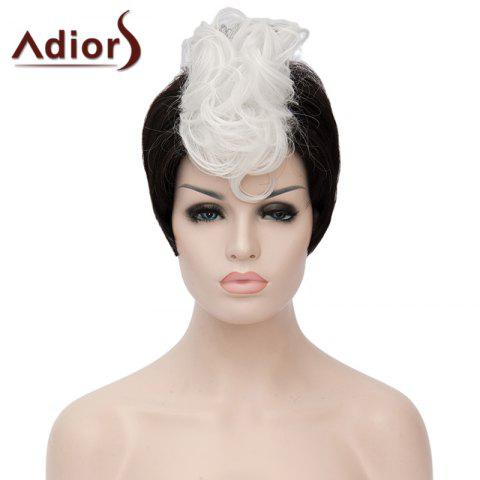 Outfit Fashion Short Capless White Highlight Synthetic Fluffy Curly Bump Wig For Women WHITE/BLACK