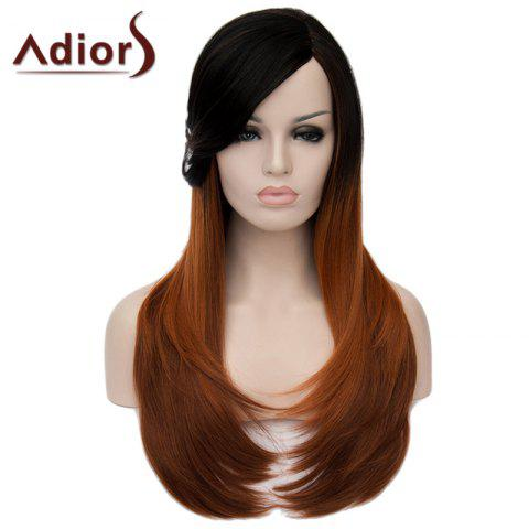 Hot Charming Long Natural Straight Synthetic Vogue Side Bang Black Brown Ombre Capless Wig For Women