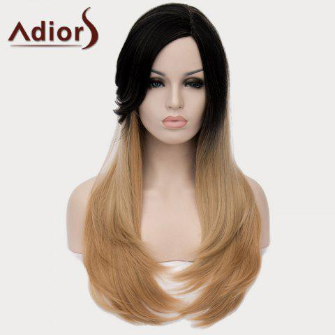 Shop Vogue Black Ombre Light Blonde Long Capless Stunning Straight Side Bang Synthetic Wig For Women