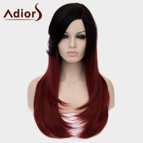 Online Fashion Side Bang Natural Straight Synthetic Elegant Long Black Ombre Wine Red Wig For Women