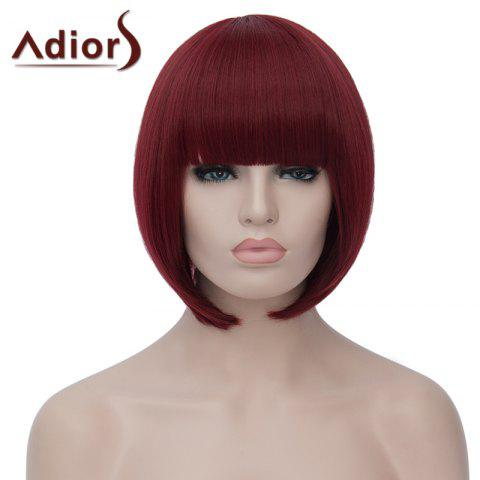 Affordable Charming Short Straight Capless Bob Style Full Bang Synthetic Wig For Women WINE RED