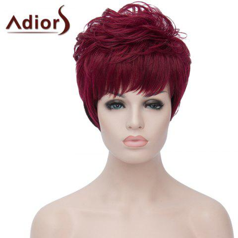 Buy Attractive Short Fluffy Natural Wave Synthetic Side Bang Wine Red Ombre Black Wig For Women RED/BLACK
