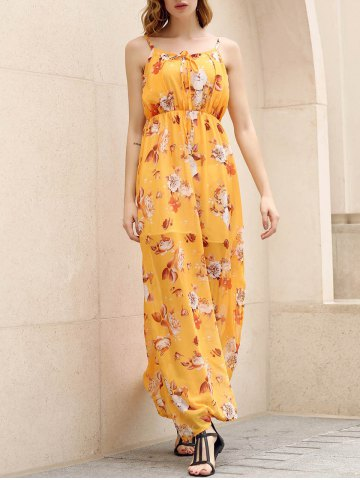New Bohemian Strappy Sleeveless Floral Print Women's Dress - M YELLOW Mobile
