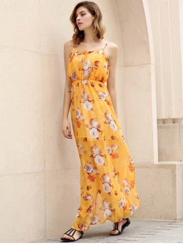 Hot Bohemian Strappy Sleeveless Floral Print Women's Dress - M YELLOW Mobile