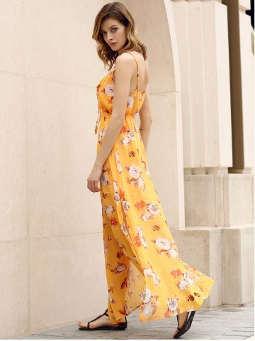 Online Bohemian Strappy Sleeveless Floral Print Women's Dress - M YELLOW Mobile