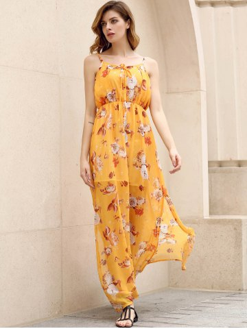 Shop Bohemian Strappy Sleeveless Floral Print Women's Dress - M YELLOW Mobile