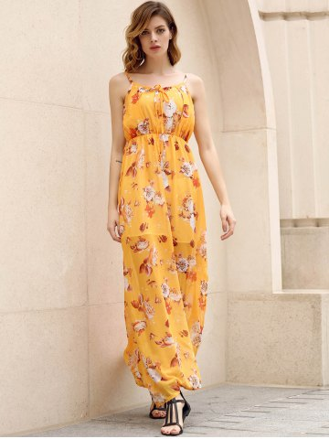 Trendy Bohemian Strappy Sleeveless Floral Print Women's Dress - M YELLOW Mobile