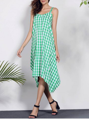 Latest Spaghetti Strap Sleeveless Plaid Asymmetrical Summer Dress