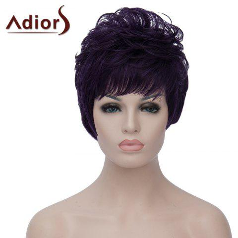 Unique Towheaded Natural Wave Capless Vogue Short Purple Highlight Synthetic Wig For Women
